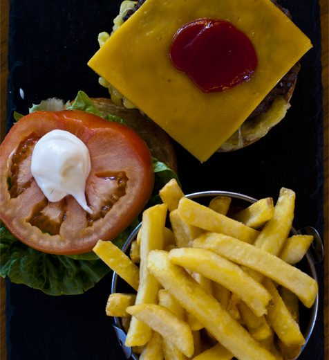 Harbourmaster Beef Burger with Cheese on a Buttery Brioche Bun and Fries