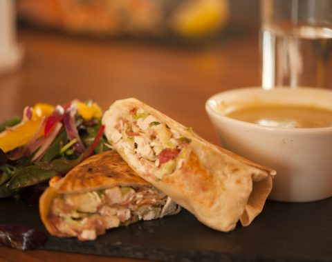 Chicken and Bacon Caesar Wrap with Homemade Cream Soup of the Day