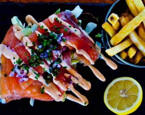 Open Sandwich on Guinness Brown Bread, with Crab, Salmon or Shrimp