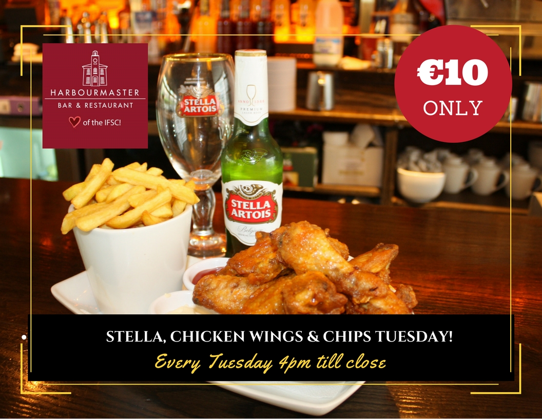 Stella, chicken wings and chips