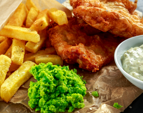 Fillet of North Atlantic Haddock in a Crisp Beer Batter, Minted Pea Puree, Tartar Sauce and Fries