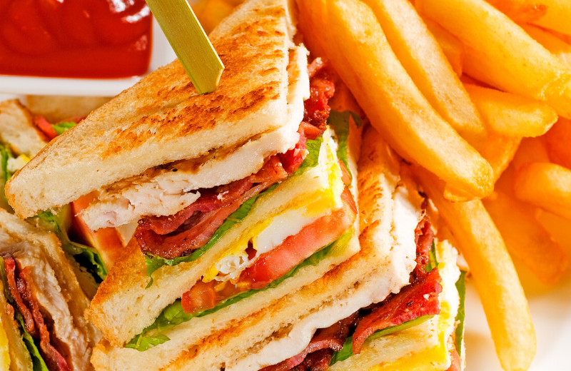 chicken and bacon sandwich with chips